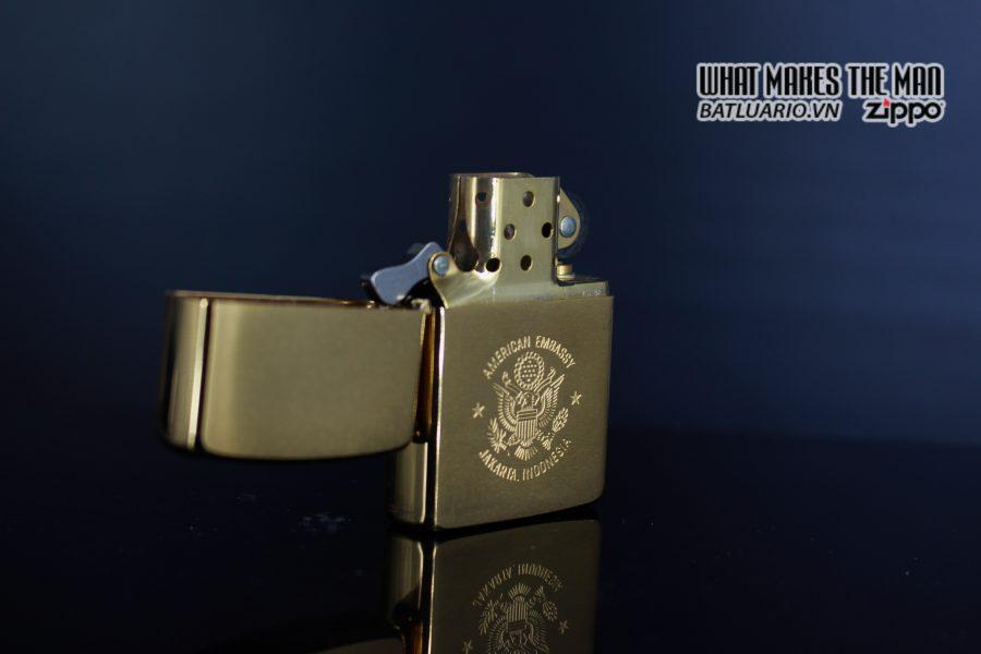 ZIPPO LA MÃ 1989 – GOLD PLATE – AMERICAN EMBASSY JAKARTA INDONESIA 5