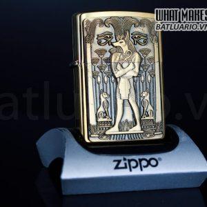 ZIPPO LA MÃ 2000 – EGYPTIAN FOX HEADED MAN – BRUSHED BRASS