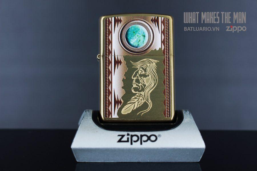 ZIPPO 204B INDIAN & TURQUOISE 3