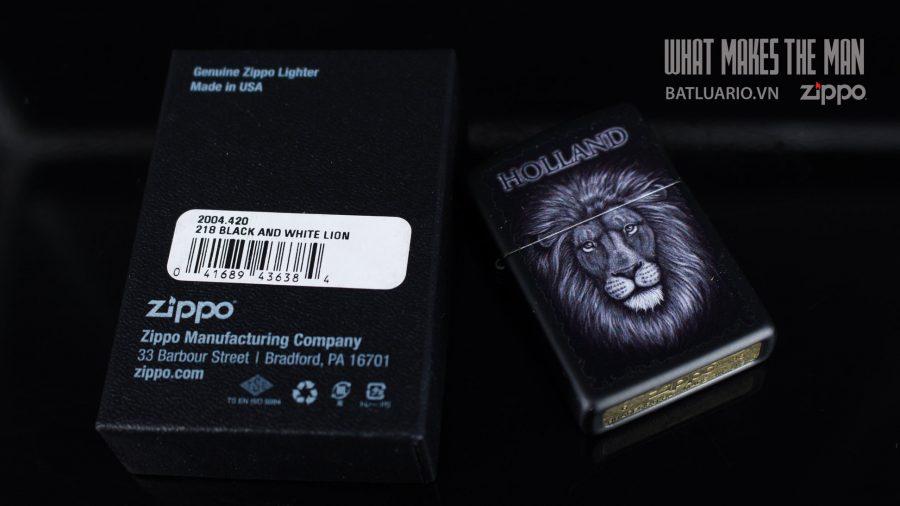 ZIPPO 218 BLACK AND WHITE LION 1