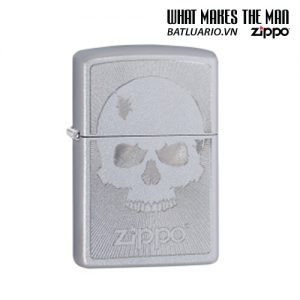 Zippo 29858 - Zippo Skull with Lines Satin Chrome