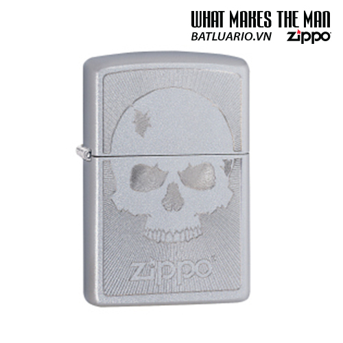Zippo 29858 - Zippo Skull with Lines Satin Chrome