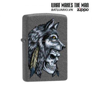 Zippo 29863 - Zippo Wolf Skull Feather Design Iron Stone