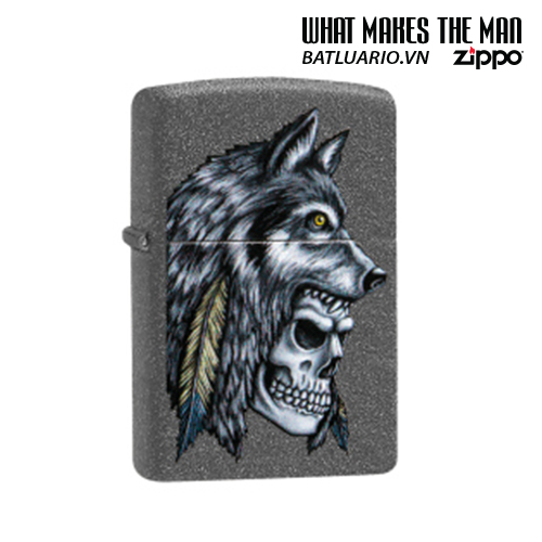 Zippo 29863 - Zippo Wolf Skull Feather Design Iron Stone