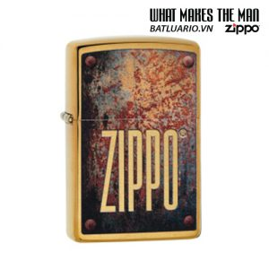 Zippo 29879 - Zippo Rusty Plate Design Brushed Brass