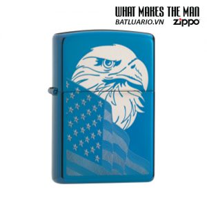 Zippo 29882 - Zippo Eagle & Flag Design High Polish Blue