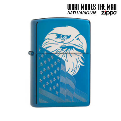 Zippo 29882 - Zippo Eagle & Flag Design High Polish Blue