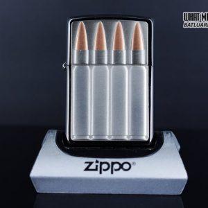 Zippo 29821 – Zippo Bullets Brush Chrome Emblem Attached 1