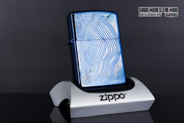 Zippo 29827 – Zippo Tree Rings Design High Polish Blue 2