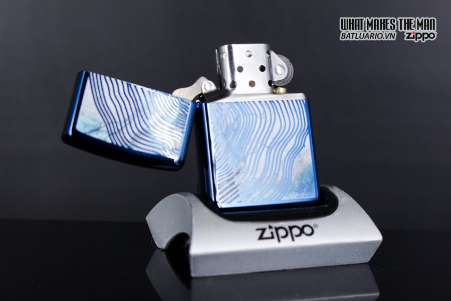 Zippo 29827 – Zippo Tree Rings Design High Polish Blue 4