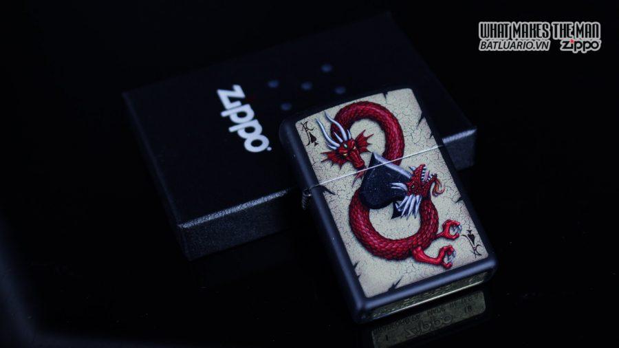 Zippo 29840 – Zippo Dragon Ace Design Black Matte 1