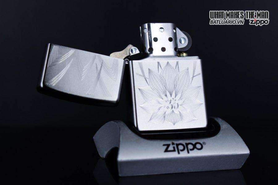 Zippo 29859 – Zippo Lotus Ohm Design Satin Chrome 5