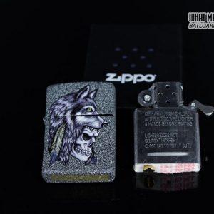 Zippo 29863 – Zippo Wolf Skull Feather Design Iron Stone 12