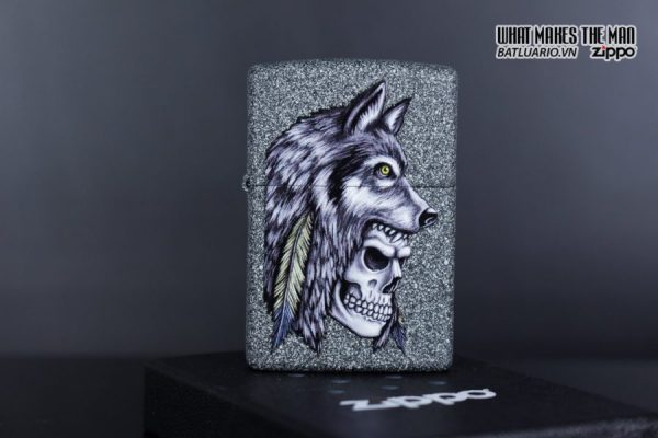 Zippo 29863 – Zippo Wolf Skull Feather Design Iron Stone 2