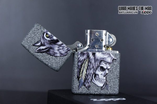 Zippo 29863 – Zippo Wolf Skull Feather Design Iron Stone 3