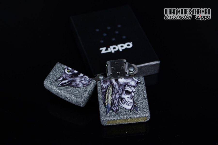 Zippo 29863 – Zippo Wolf Skull Feather Design Iron Stone 6