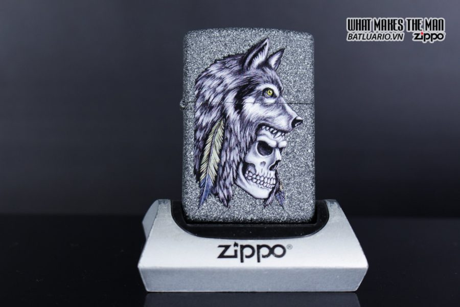Zippo 29863 – Zippo Wolf Skull Feather Design Iron Stone 8