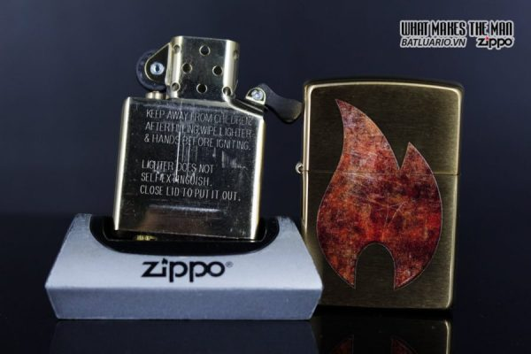 Zippo 29878 – Zippo Rusty Flame Design Brush Brass 11