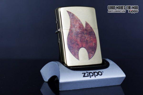 Zippo 29878 – Zippo Rusty Flame Design Brush Brass 12
