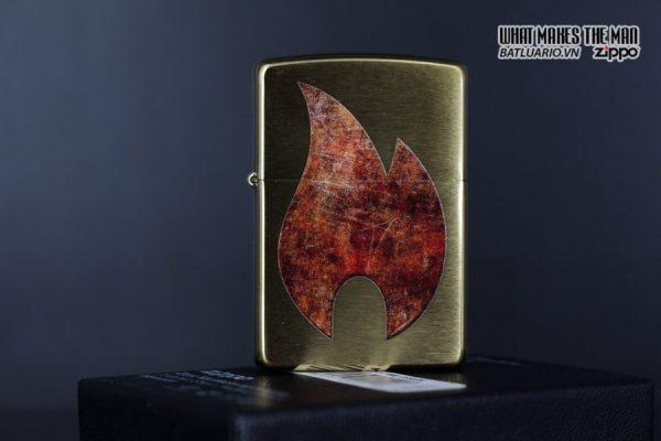 Zippo 29878 – Zippo Rusty Flame Design Brush Brass 8