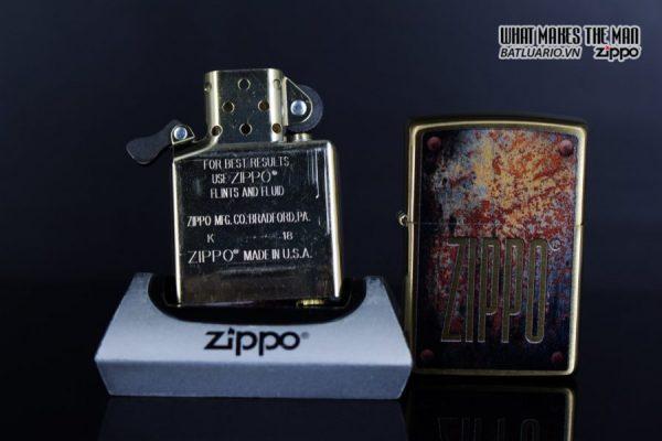Zippo 29879 – Zippo Rusty Plate Design Brushed Brass 11