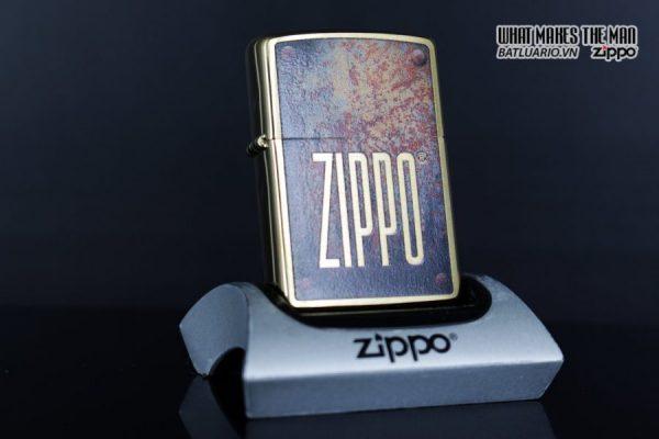 Zippo 29879 – Zippo Rusty Plate Design Brushed Brass 2