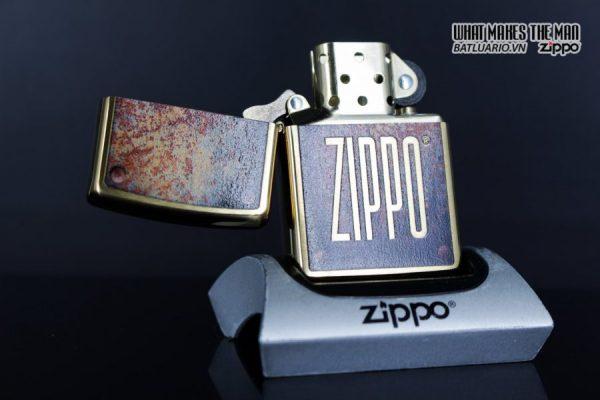Zippo 29879 – Zippo Rusty Plate Design Brushed Brass 3