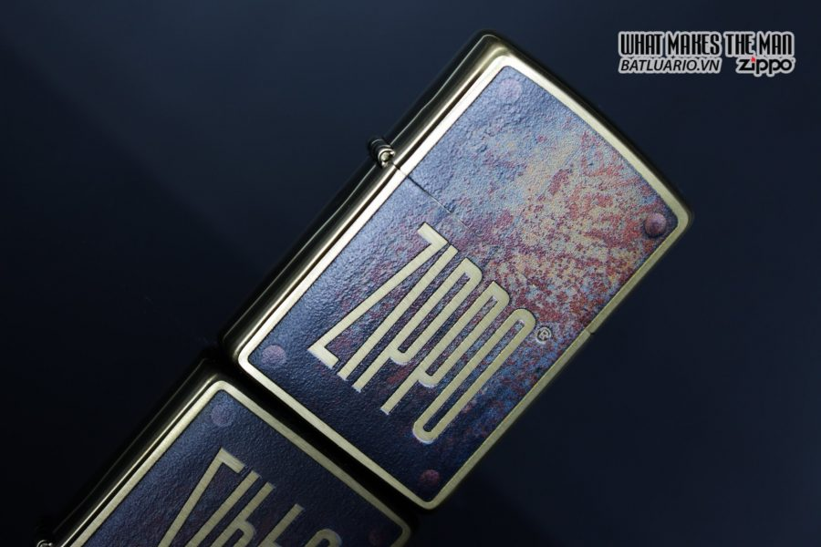 Zippo 29879 – Zippo Rusty Plate Design Brushed Brass 6