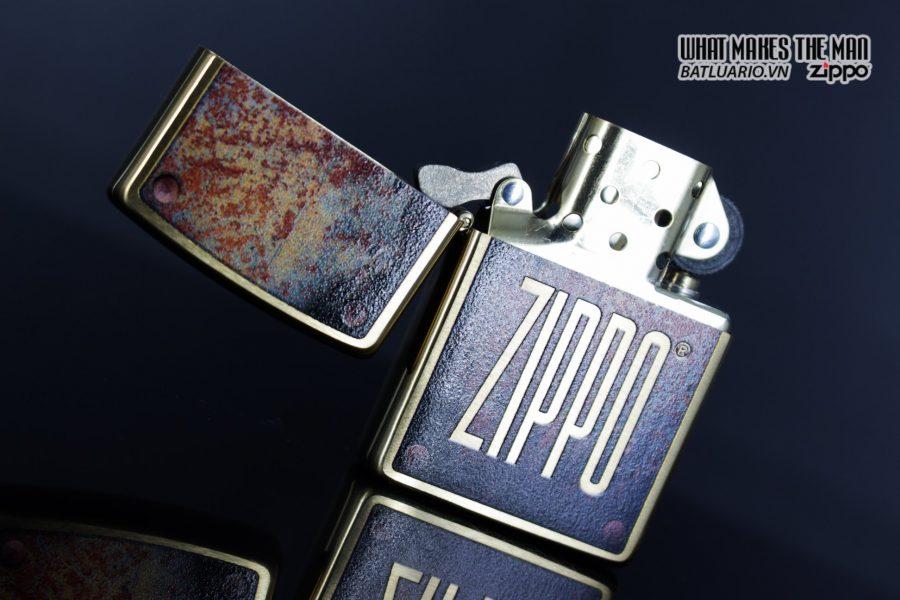 Zippo 29879 – Zippo Rusty Plate Design Brushed Brass 7