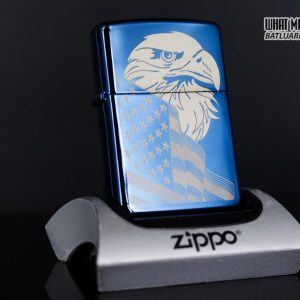 Zippo 29882 - Zippo Eagle & Flag Design High Polish Blue 1
