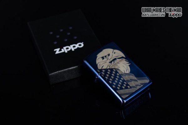 Zippo 29882 - Zippo Eagle & Flag Design High Polish Blue 10