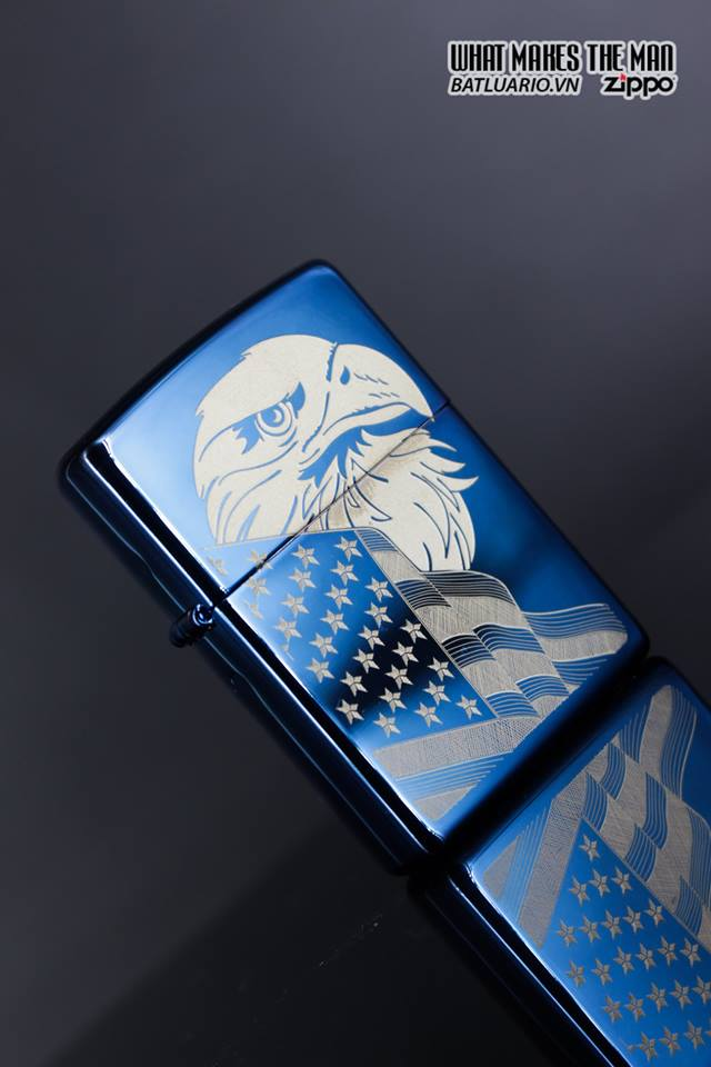 Zippo 29882 - Zippo Eagle & Flag Design High Polish Blue 4