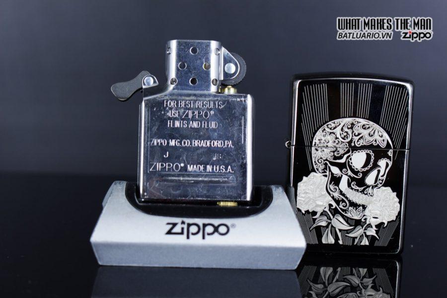 Zippo 29883 – Zippo Fancy Skull Design Black Ice 10