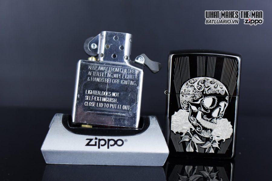 Zippo 29883 – Zippo Fancy Skull Design Black Ice 11