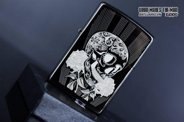 Zippo 29883 – Zippo Fancy Skull Design Black Ice 5