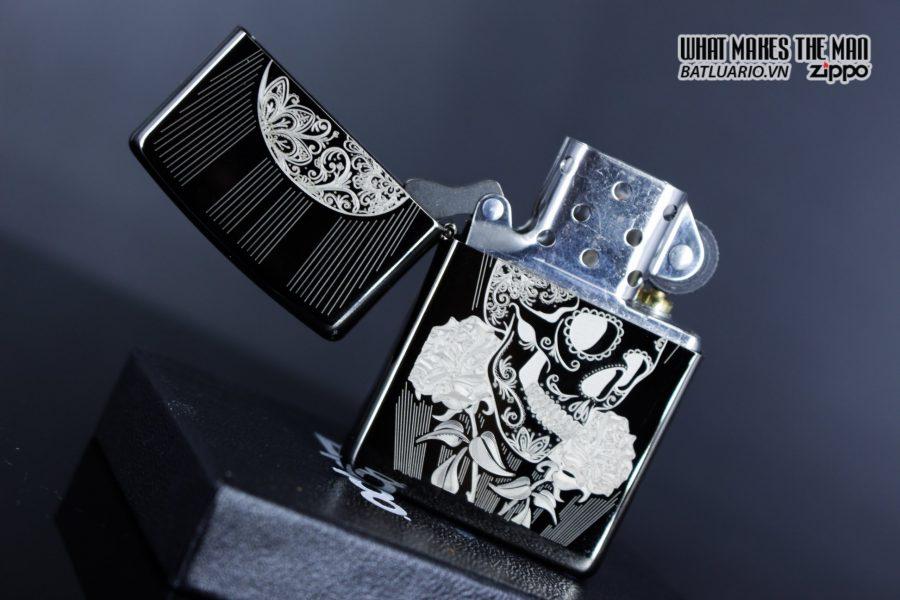 Zippo 29883 – Zippo Fancy Skull Design Black Ice 6
