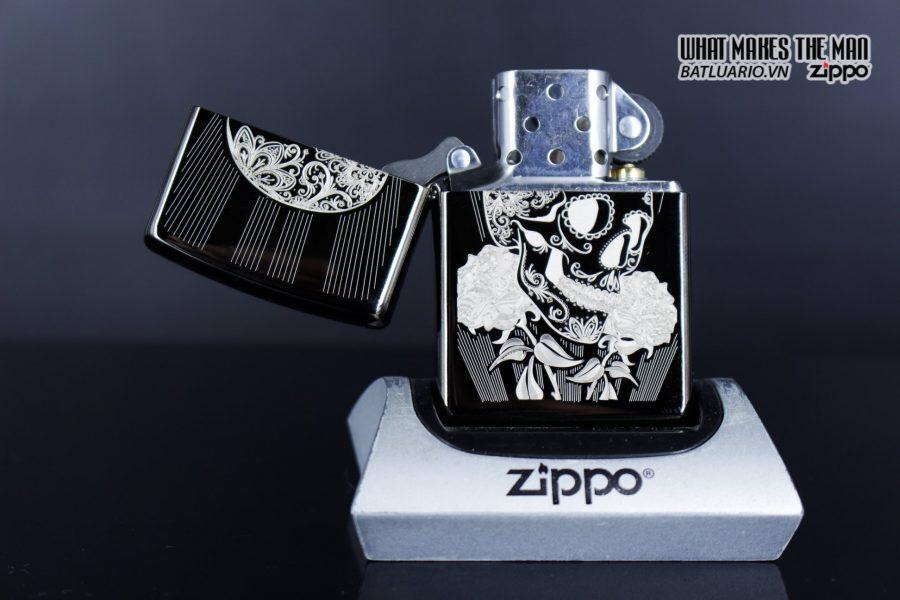 Zippo 29883 – Zippo Fancy Skull Design Black Ice 8