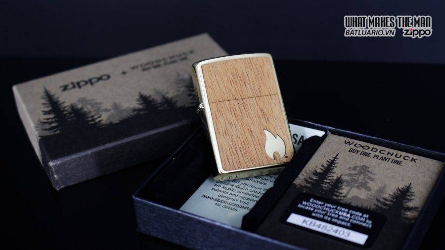 Zippo 29901 – Zippo Woodchuck Sweep Walnut Brush Brass Mahogany Emblem 5