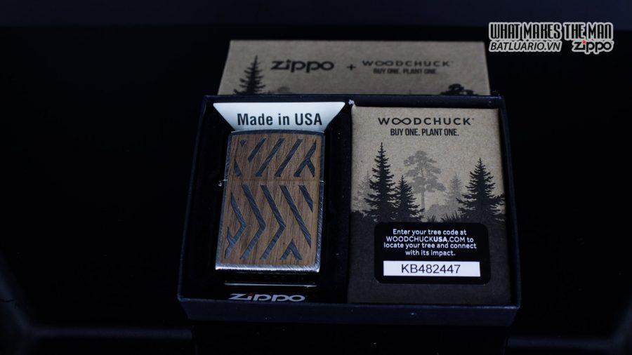 Zippo 29902 – Zippo Woodchuck Paths Heringbone Sweep Walnut Emblem 1