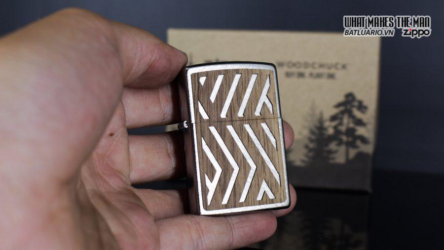 Zippo 29902 – Zippo Woodchuck Paths Heringbone Sweep Walnut Emblem 12