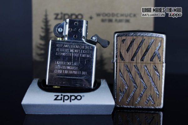 Zippo 29902 – Zippo Woodchuck Paths Heringbone Sweep Walnut Emblem 17