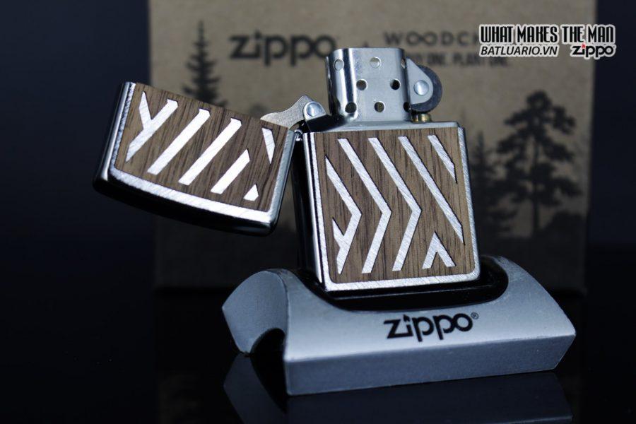 Zippo 29902 – Zippo Woodchuck Paths Heringbone Sweep Walnut Emblem 20