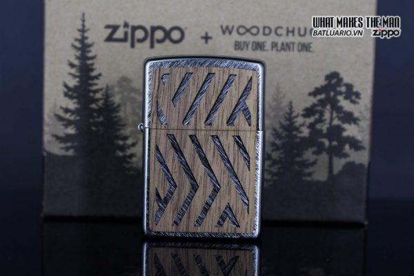 Zippo 29902 – Zippo Woodchuck Paths Heringbone Sweep Walnut Emblem 22