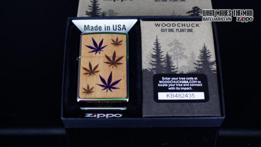 Zippo 29903 – Zippo Woodchuck Leaves Walnut Multi Color Mahogany Emblem 1