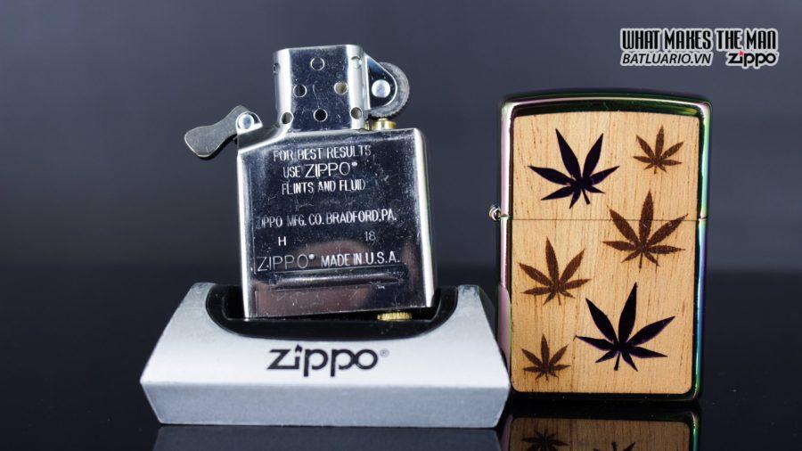 Zippo 29903 – Zippo Woodchuck Leaves Walnut Multi Color Mahogany Emblem 13