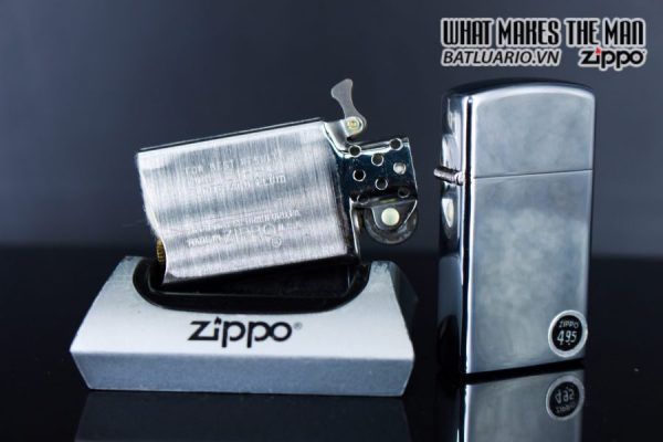 ZIPPO SLIM XƯA 1972 – PLAIN HIGH POLISHED CHROME – TRƠN 2 MẶT 3