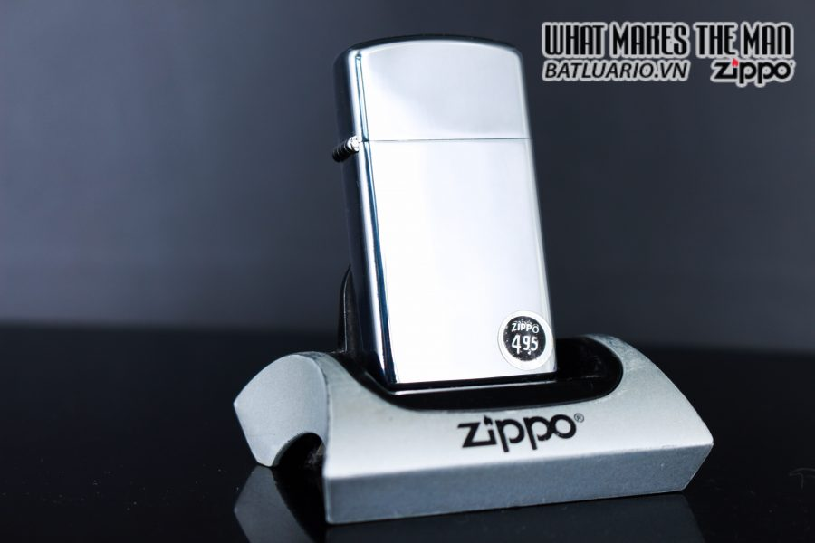 ZIPPO SLIM XƯA 1972 – PLAIN HIGH POLISHED CHROME – TRƠN 2 MẶT