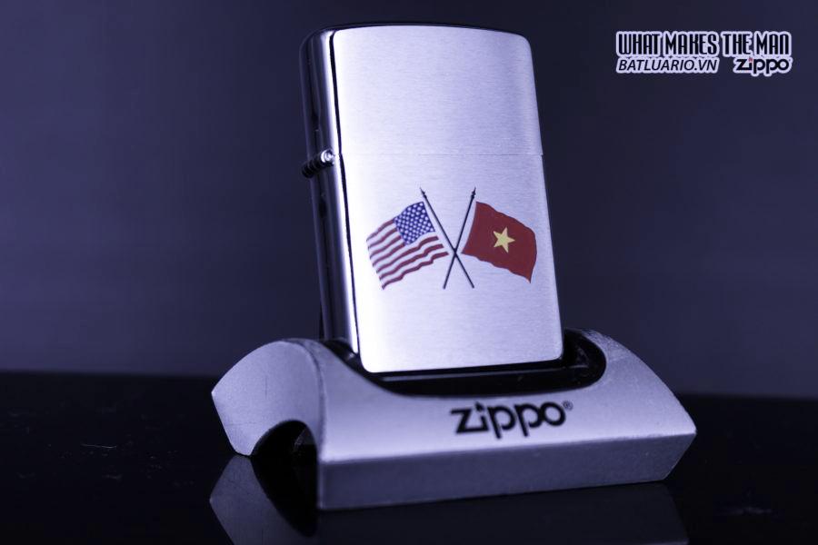 ZIPPO LA MÃ 1997 - AMERICAN & VIETNAM FLAG