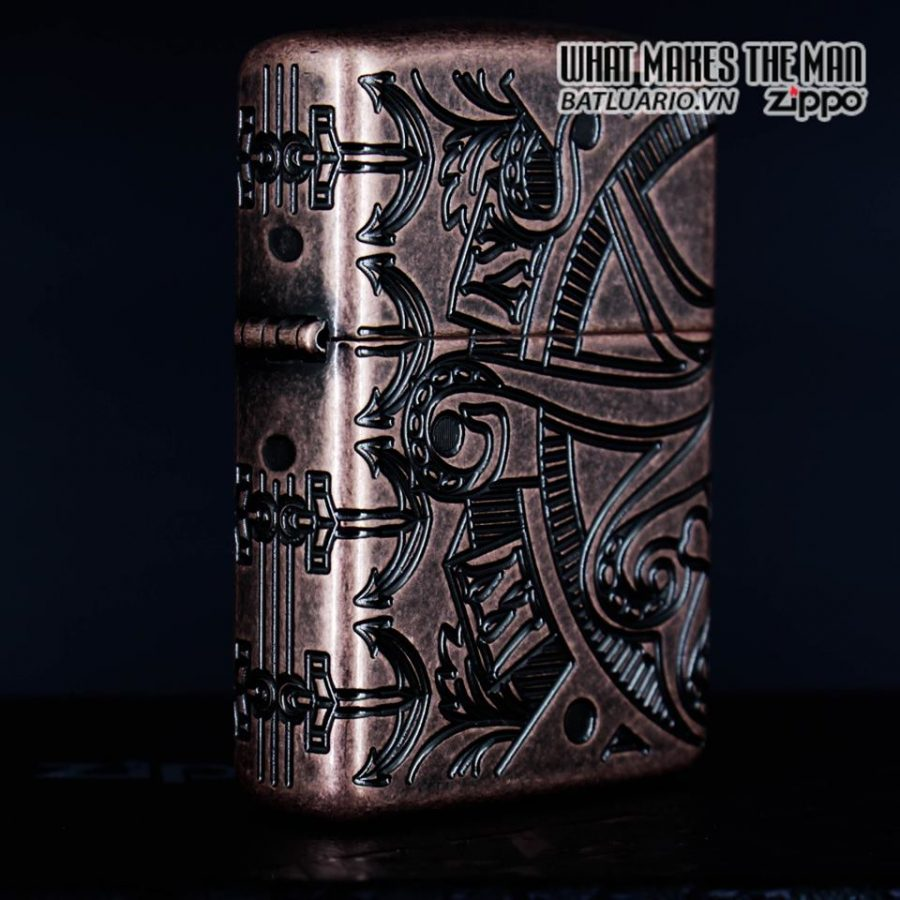 Zippo 49000 - Zippo Armor MultiCut Nautical Scene Antique Copper 10