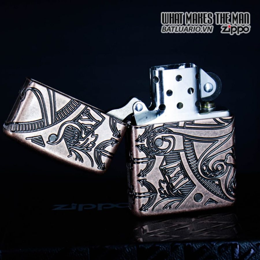 Zippo 49000 - Zippo Armor MultiCut Nautical Scene Antique Copper 11